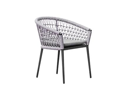 Кресло уличное муза темно-серое с оплеткой (garda decor) белый 63.0x75.0x63.0 см.