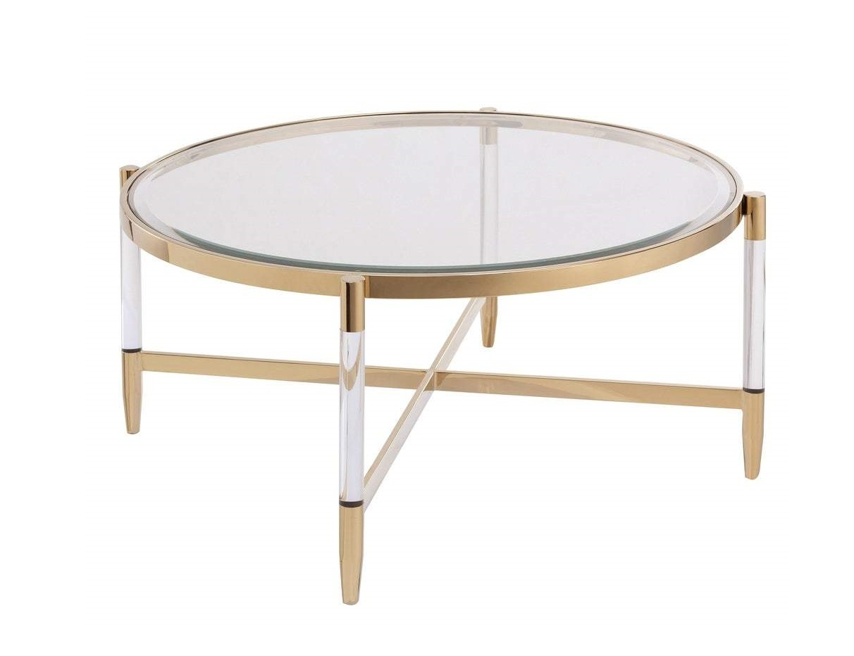 Журнальный стол шэрон (louvrehome) золотой 90x40x90 см.