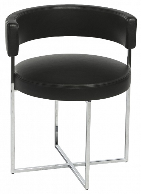 Кресло SirioКожаные кресла<br>Стул из натуральной черной кожи с круглым сиденьем с округлой спинкой - удобный и практичный предмет для рабочего пространства дома, в креативном пространстве или в офисе. Оригинальность дизайну придает конструкция хромированных ножек, переплетенных на полу буквой &amp;quot;Х&amp;quot;, а общий вид явно заимствует у знаменитого LC7 Ле Корбюзье, только с более современными нотами.&amp;lt;div&amp;gt;&amp;lt;br&amp;gt;&amp;lt;/div&amp;gt;&amp;lt;div&amp;gt;Материал: хром<br>Обивка: кожа&amp;lt;/div&amp;gt;<br><br>Material: Кожа<br>Height см: 70<br>Diameter см: 52