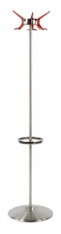 Вешалка HangerВешалки<br>Напольная вешалка с 8 крючками и держателем зонтов в стиле лофт для просторных интерьеров мегаполиса. Металлическая штанга крепится к круглому блестящему основанию и завершает яркими крючками алого оттенка.<br><br>Отделка: металл, пластик.<br><br>Material: Металл<br>Length см: None<br>Width см: None<br>Height см: 170<br>Diameter см: 45