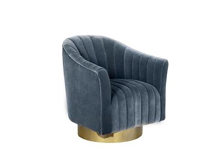 Кресло вращающееся голубое велюровое (garda decor) голубой 76.0x83.0x77.0 см.