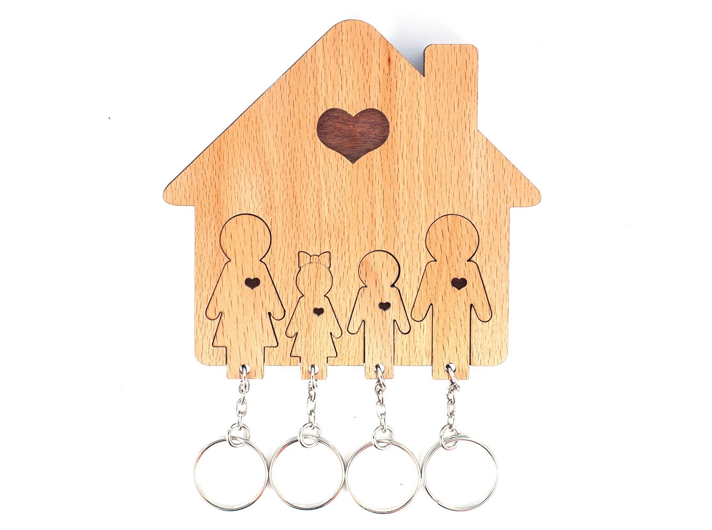 Ключница «семья с сыном и дочерью» (mimi) коричневый 12x11x1 см.