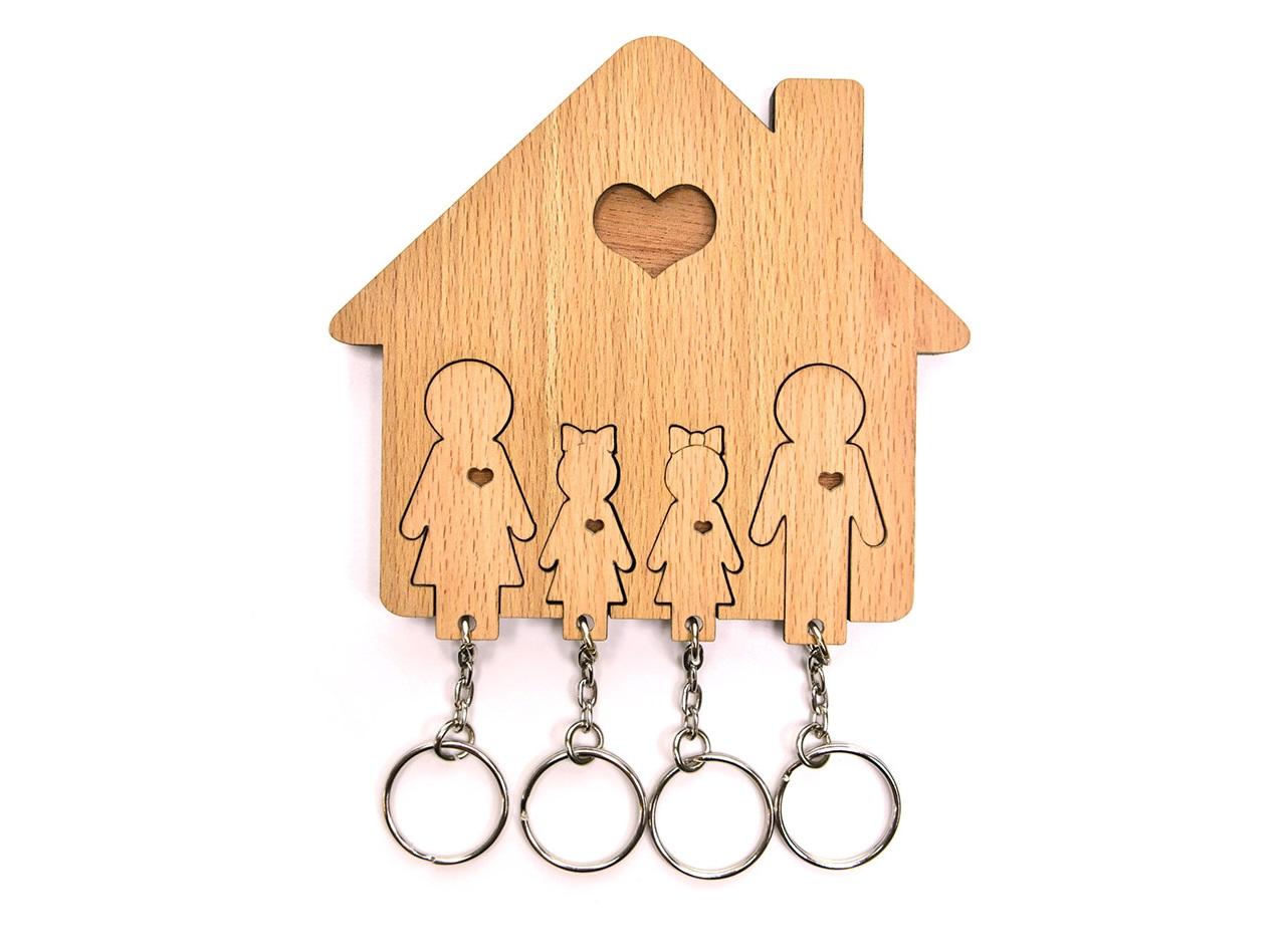 Ключница «семья с двумя дочками» (mimi) коричневый 12x11x1 см.
