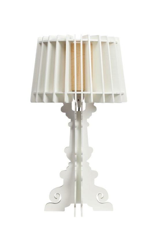 Настольная лампа Bordja WhiteДекоративные лампы<br>Цвет: белый<br>Цоколь: Е27<br><br>Material: МДФ<br>Height см: 58<br>Diameter см: 32