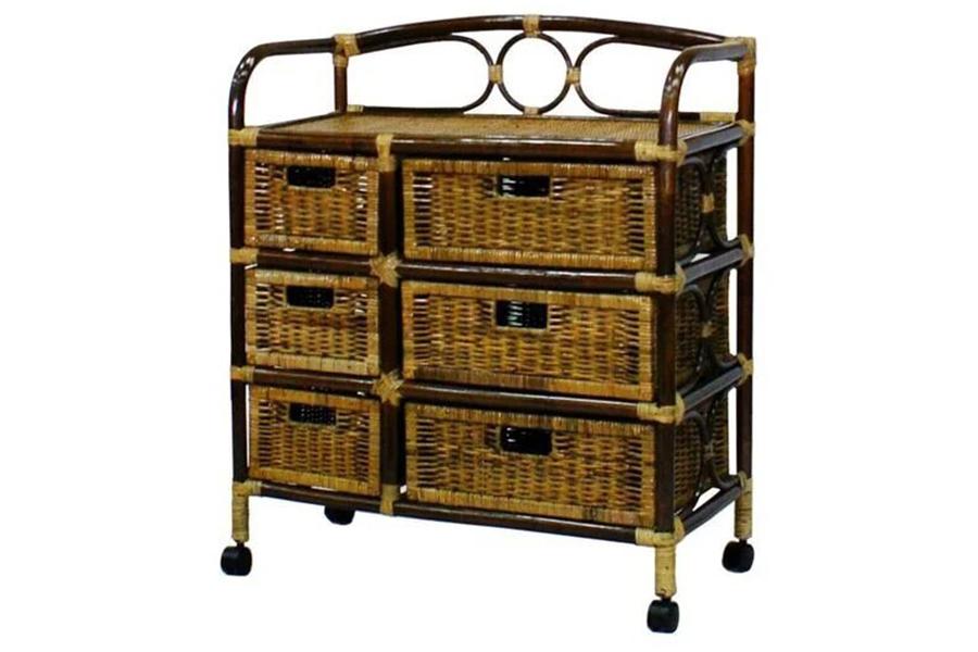 Комод с плетеными ящиками (bigarden) коричневый 88x149x35 см.