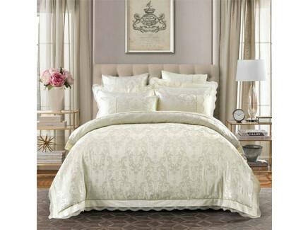Комплект постельного белья (евро) (asabella) бежевый 200x220 см.