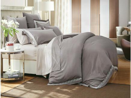 Комплект постельного белья (семейный) (asabella) серый 160x220 см.