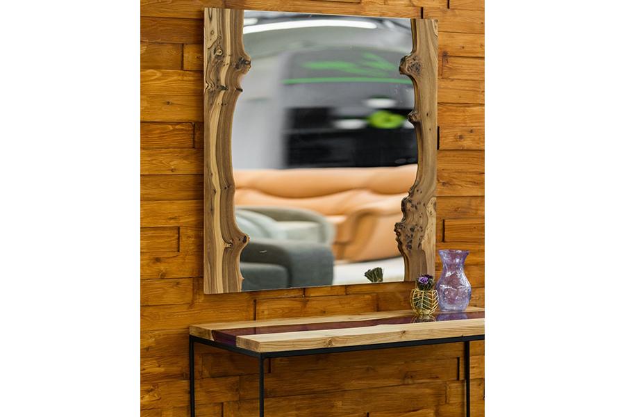 Зеркало (woodzpro) бежевый 100x100 см.