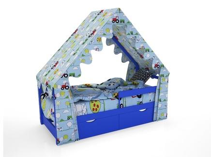 Кровать-домик scandi (magic cars) синий 76x142x165 см.