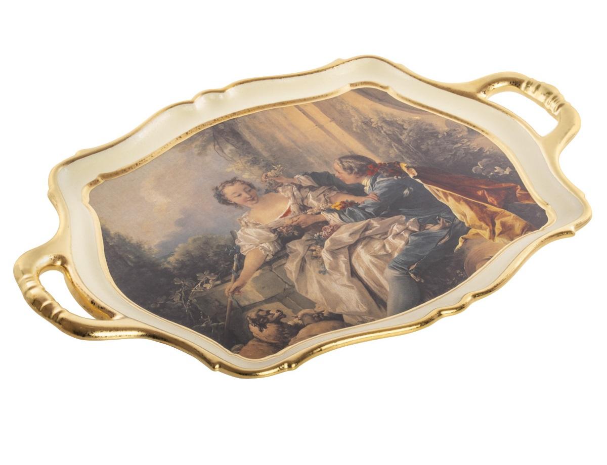 Блюдо с ручками ceramiche (bruno costenaro) мультиколор 53x6x35 см..