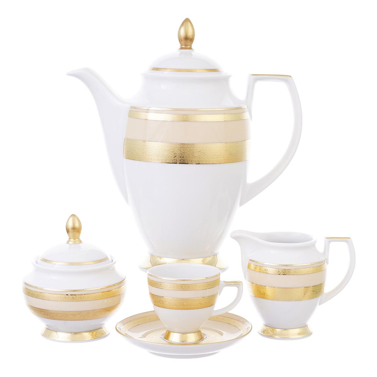 Кофейный сервиз constanza creme gold (17 предметов) (falkenporzellan) золотой