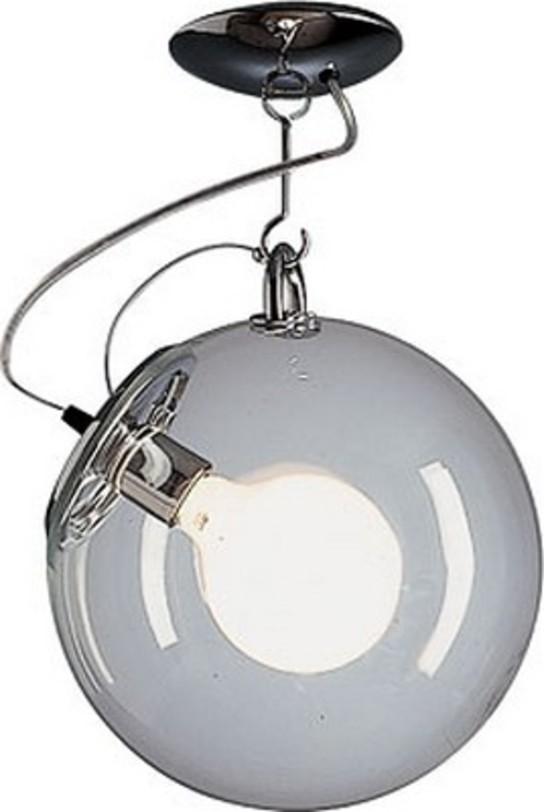 Светильник MiconosПотолочные светильники<br>Основа из полированного хромированного металла, плафон из прозрачного выдувного стекла.<br><br>Мощность: 1 Е27 x 20 Вт<br><br>Material: Стекло<br>Height см: 48<br>Diameter см: 30