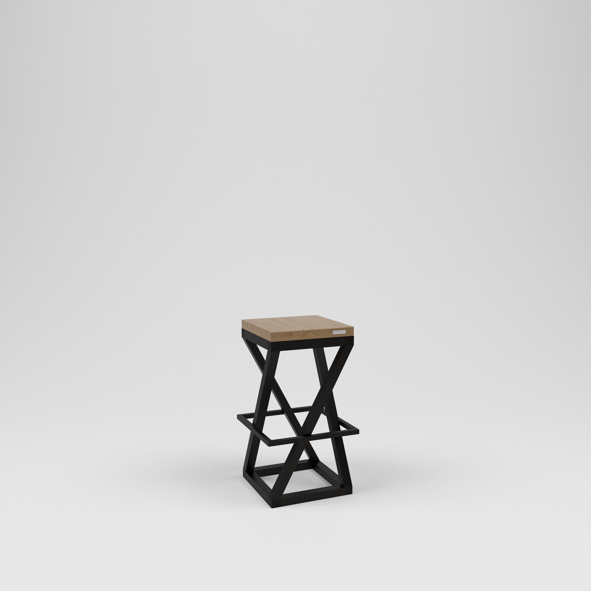 Стул барный лофт (kovka object) черный 38.0x75.0x38.0 см.