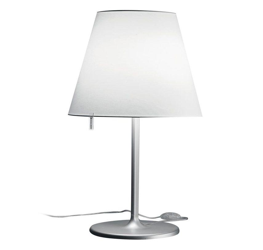Настольная лампа Melampo tavolo - Aluminium greyДекоративные лампы<br>Основа - окрашенный сплав алюминия; абажур - атласная шелковая ткань на пластиковой раме. Абажур фиксируется в 3-х разных положениях.<br><br>Цвет: серый алюминий.&amp;amp;nbsp;&amp;lt;div&amp;gt;Мощность: 2 x 52 Вт&amp;lt;/div&amp;gt;&amp;lt;div&amp;gt;Цоколь: Е27&amp;amp;nbsp;&amp;lt;/div&amp;gt;<br><br>Material: Шелк<br>Высота см: 58