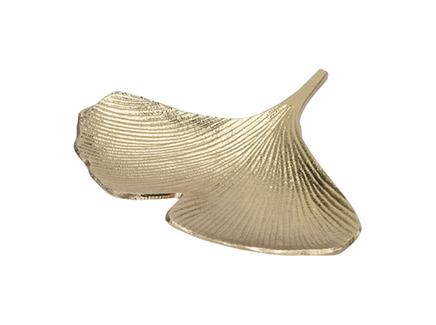 Тарелка декоративная гинкго (garda decor) золотой 23x2x21 см.