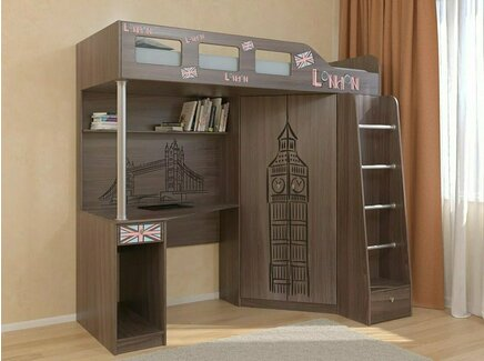 Кровать-чердак астра (биг бен) (рв-мебель) коричневый 198.2x114x186 см.
