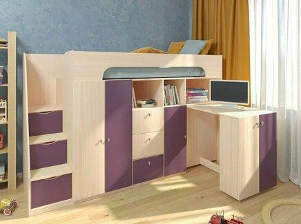 Кровать-чердак астра (рв-мебель) фиолетовый 236x84.2x143 см.