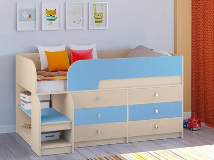 Кровать-чердак астра 9/3 (рв-мебель) голубой 163.2x99x90 см.
