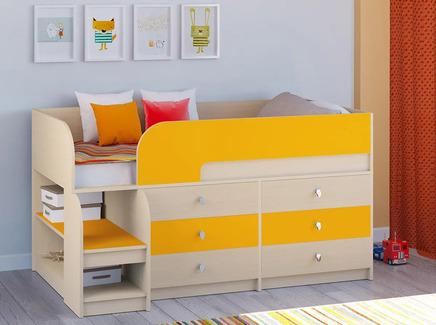 Кровать-чердак астра 9/3 (рв-мебель) оранжевый 163.2x99x90 см.