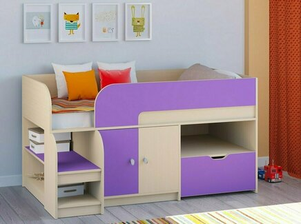 Кровать-чердак астра 9/4 (рв-мебель) фиолетовый 163.2x99x90 см.