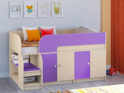 Кровать-чердак астра 9/2 (рв-мебель) фиолетовый 163.2x99x90 см.