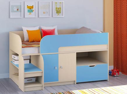 Кровать-чердак астра 9/4 (рв-мебель) голубой 163.2x99x90 см.