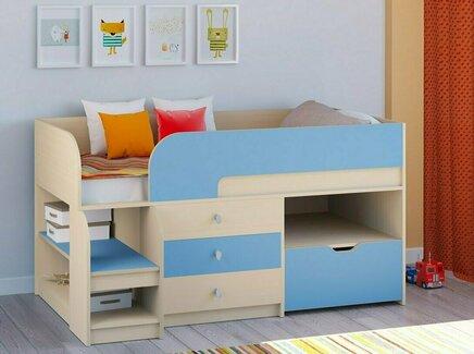 Кровать-чердак астра 9/5 (рв-мебель) голубой 163.2x99x90 см.