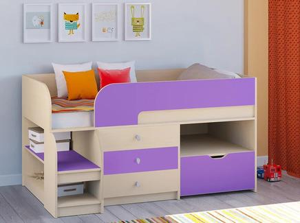 Кровать-чердак астра 9/5 (рв-мебель) фиолетовый 163.2x99x90 см.