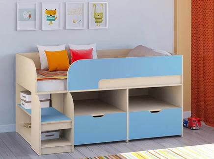 Кровать-чердак астра 9/6 (рв-мебель) голубой 163.2x99x90 см.