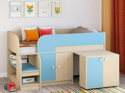 Кровать-чердак астра 9/8 (рв-мебель) голубой 163.2x99x90 см.