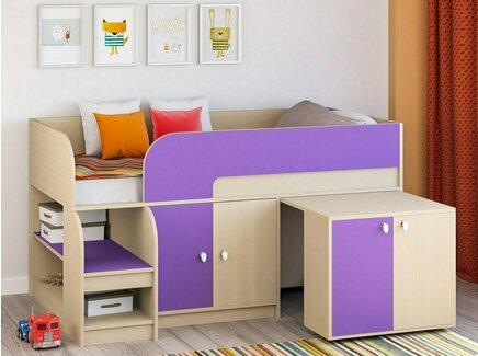 Кровать-чердак астра 9/8 (рв-мебель) фиолетовый 163.2x99x90 см.