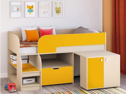 Кровать-чердак астра 9/9 (рв-мебель) оранжевый 163.2x99x90 см.