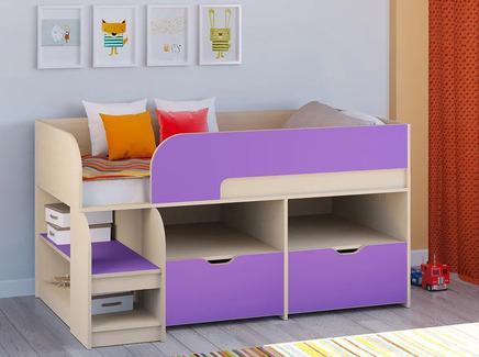 Кровать-чердак астра 9/6 (рв-мебель) фиолетовый 163.2x99x90 см.