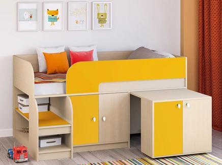 Кровать-чердак астра 9/7 (рв-мебель) оранжевый 163.2x99x90 см.