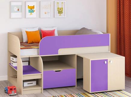 Кровать-чердак астра 9/9 (рв-мебель) фиолетовый 163.2x99x90 см.