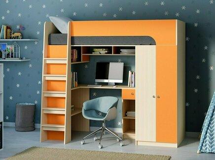 Кровать-чердак астра 10 (рв-мебель) оранжевый 194.2x84.2x143 см.