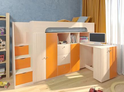 Кровать-чердак астра 11 (рв-мебель) оранжевый 236x84.2x143 см.
