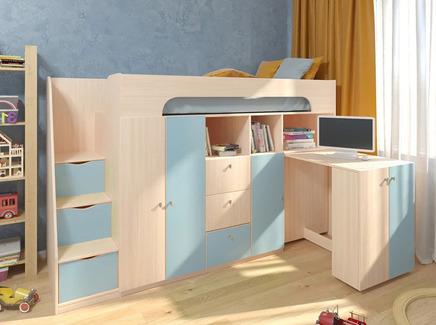 Кровать-чердак астра 11 (рв-мебель) голубой 236x84.2x143 см.