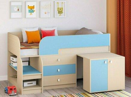 Кровать-чердак астра 9/7 (рв-мебель) голубой 163.2x99x90 см.