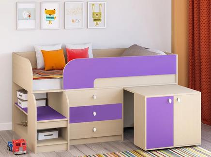 Кровать-чердак астра 9/7 (рв-мебель) фиолетовый 163.2x99x90 см.