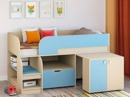 Кровать-чердак астра 9/9 (рв-мебель) голубой 163.2x99x90 см.
