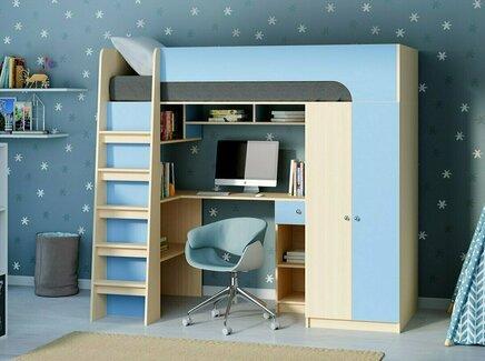 Кровать-чердак астра 10 (рв-мебель) голубой 194.2x84.2x143 см.
