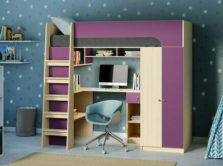 Кровать-чердак астра 10 (рв-мебель) фиолетовый 194.2x84.2x143 см.