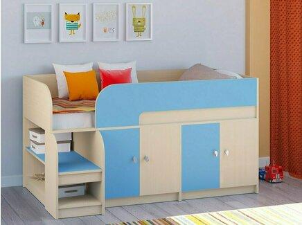 Кровать-чердак астра (рв-мебель) голубой 163.2x99x90 см.