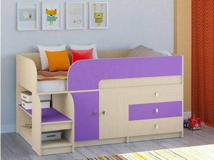 Кровать-чердак астра (рв-мебель) фиолетовый 163.2x99x90 см.