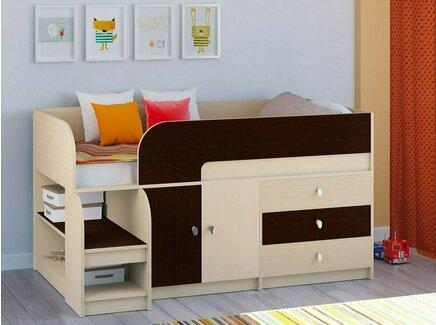 Кровать-чердак астра (рв-мебель) коричневый 163.2x99x90 см.
