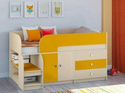 Кровать-чердак астра (рв-мебель) оранжевый 163.2x99x90 см.