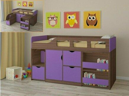 Кровать-чердак астра (рв-мебель) фиолетовый 194.2x84.6x108 см.