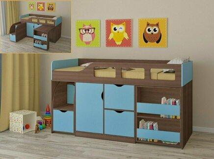 Кровать-чердак астра (рв-мебель) голубой 194.2x84.6x108 см.