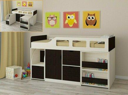 Кровать-чердак астра (рв-мебель) коричневый 194.2x84.6x108 см.